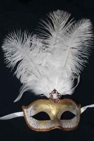 White and Gold Masquerade Mask - Feather Mask | Masks and Tiaras